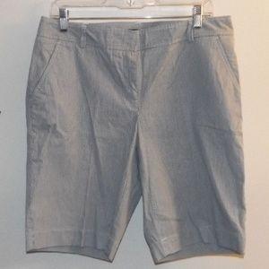 Lands End Size 10 Gray Pinstripe Bermuda Shorts